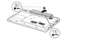 removal lenovo z560 / z565 laptop battery step 2