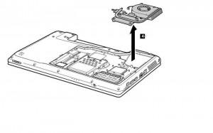 removal lenovo z560 / z565 cpu cooling fan step 3