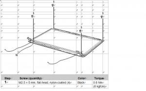 Removal lenovo z560/Z565 lcd hinges step 1