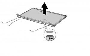 removal lenovo z560/z565 lcd hinges step 2
