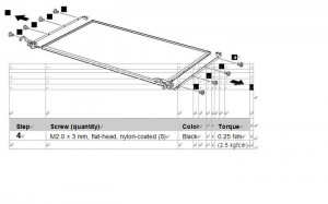 removal lenovo z560/z565 lcd hinges step 3