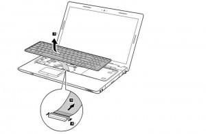 removal lenovo z560 / z565 keyboard step 2